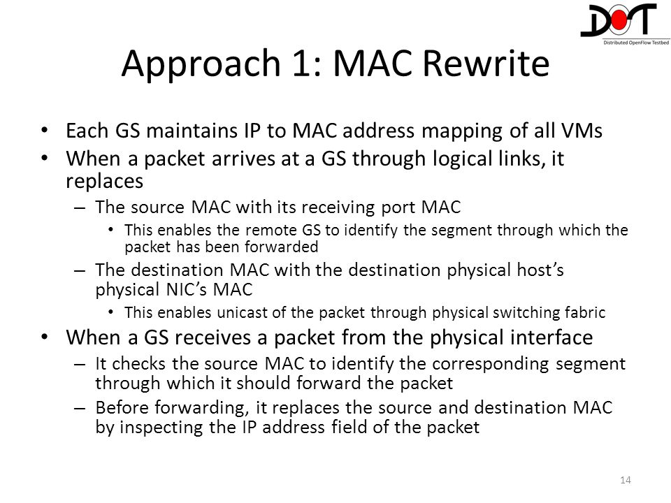 Approach 1: MAC Rewrite Each GS maintains IP to MAC address mapping of all VMs. When a packet arrives at a GS through logical links, it replaces.