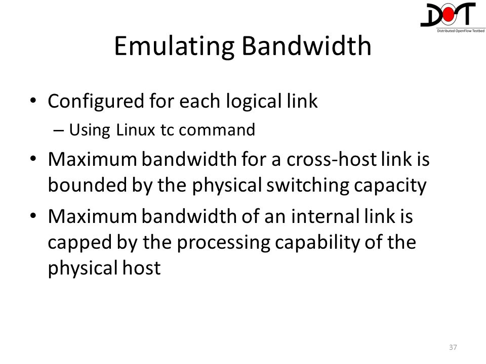 Emulating Bandwidth Configured for each logical link