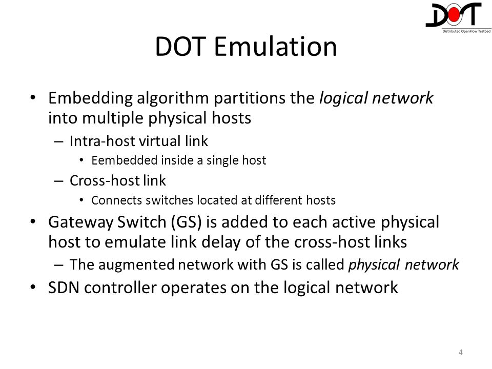 DOT Emulation Embedding algorithm partitions the logical network into multiple physical hosts. Intra-host virtual link.