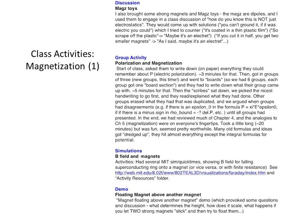 Class Activities: Magnetization (1)