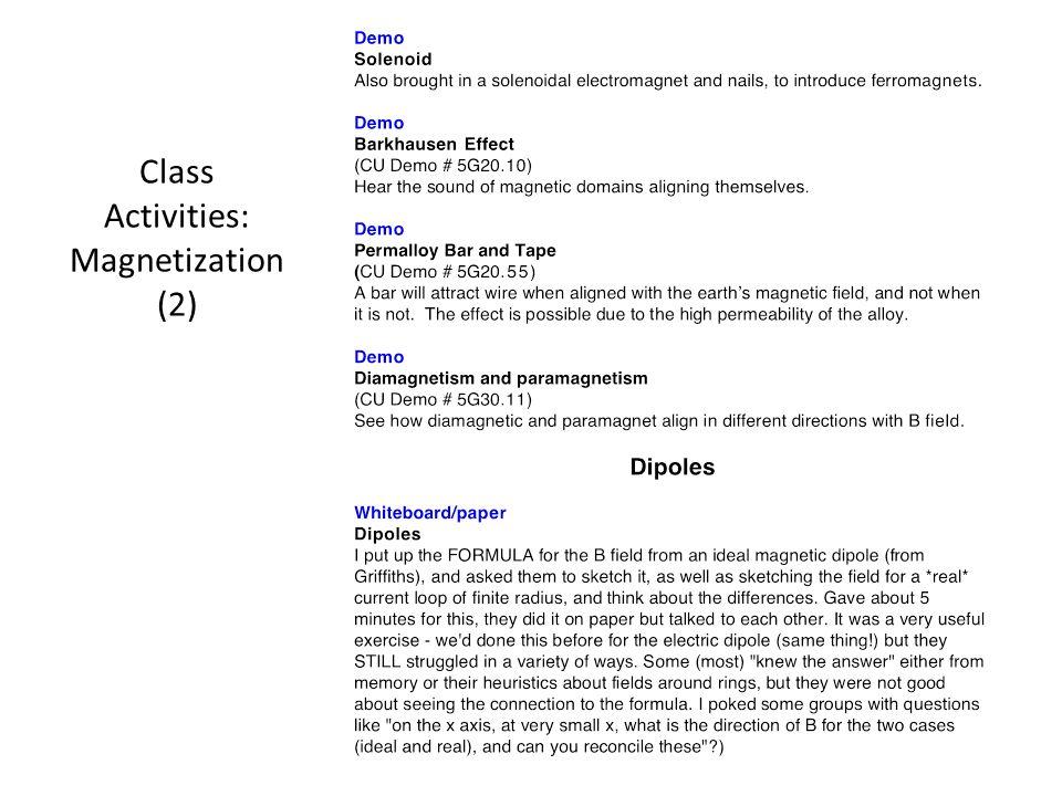 Class Activities: Magnetization (2)