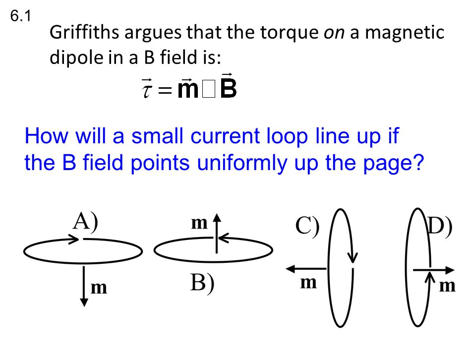 Griffiths argues that the torque on a magnetic dipole in a B field is: