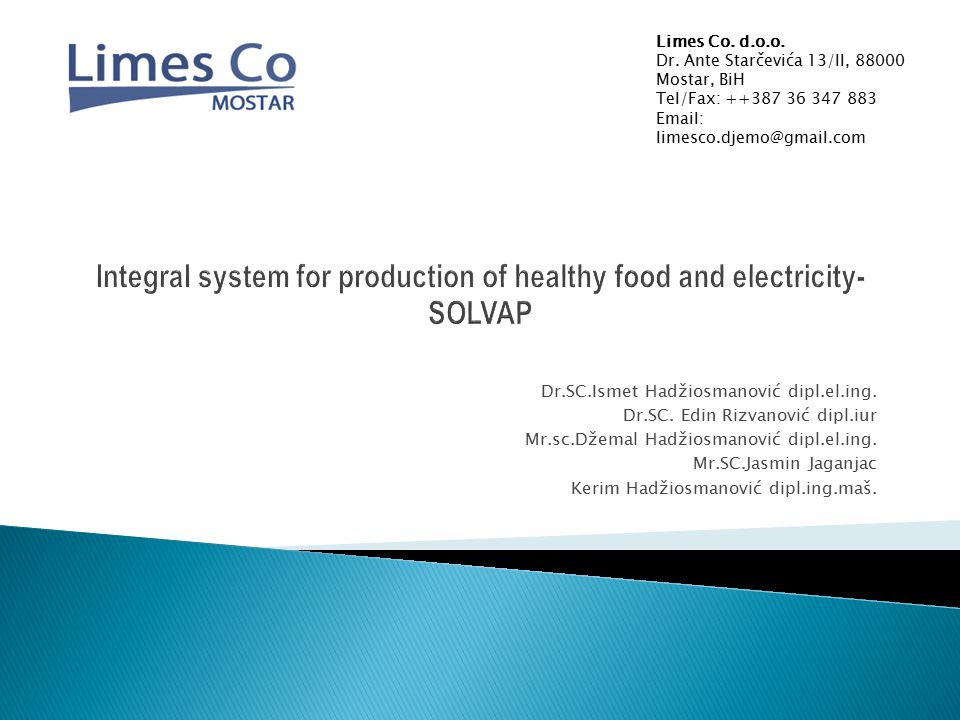 Integral system for production of healthy food and electricity-SOLVAP