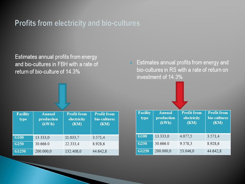 Profits from electricity and bio-cultures