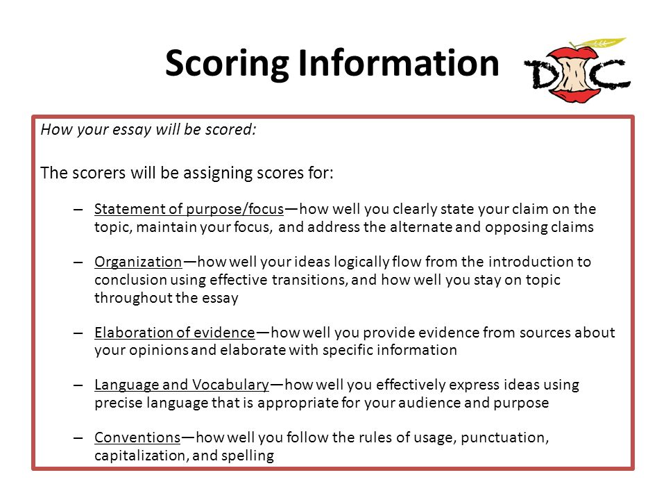 Scoring Information The scorers will be assigning scores for: