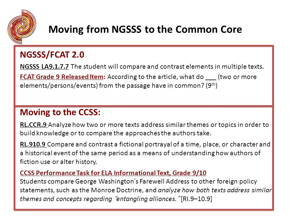 Moving from NGSSS to the Common Core