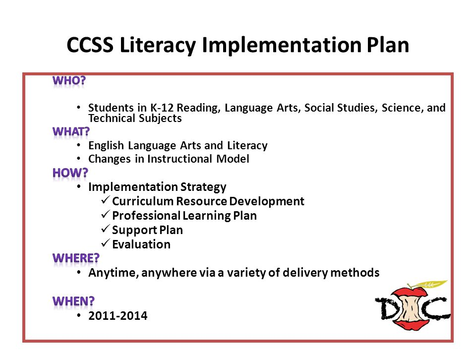 CCSS Literacy Implementation Plan