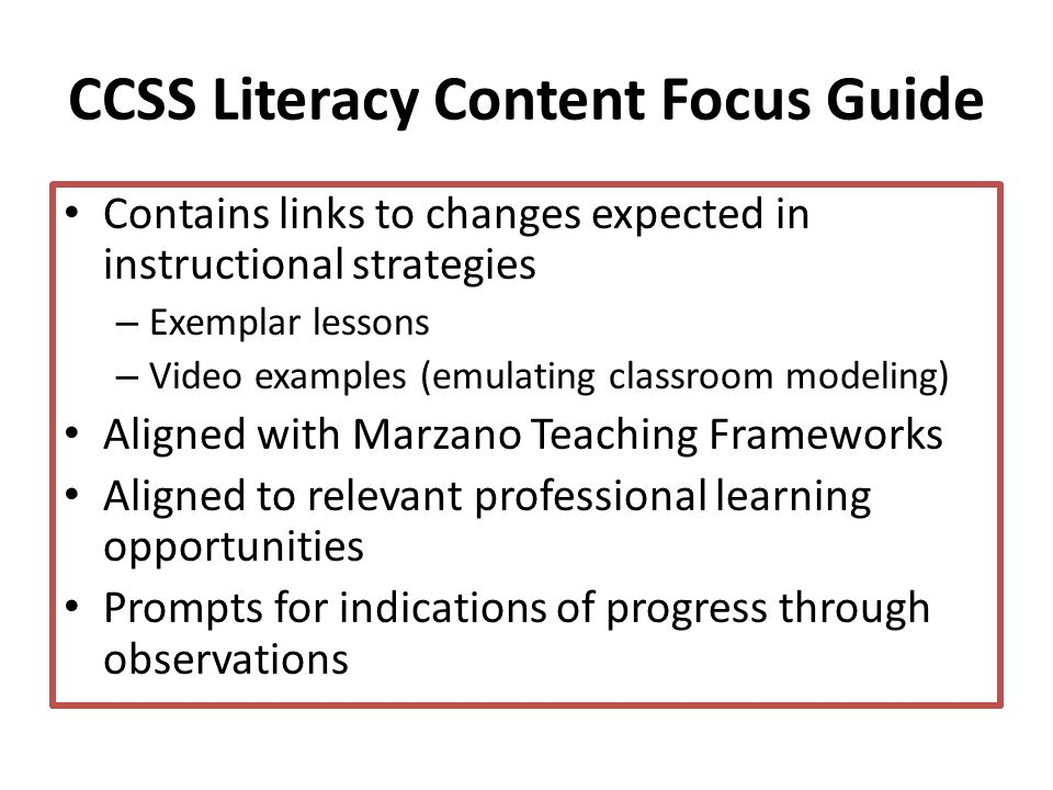 CCSS Literacy Content Focus Guide