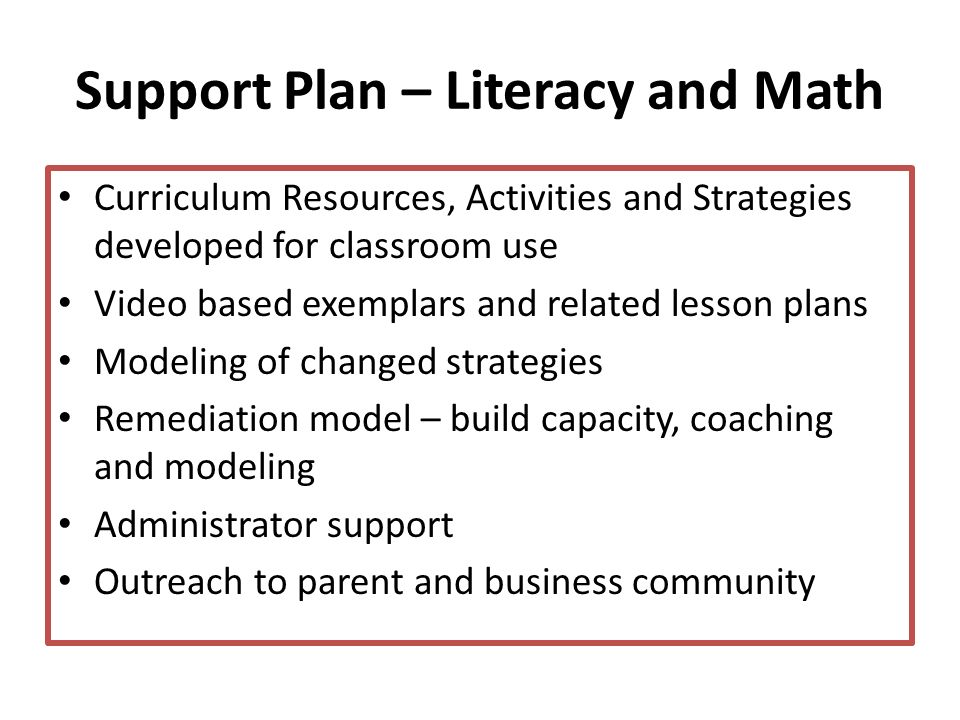 Support Plan – Literacy and Math