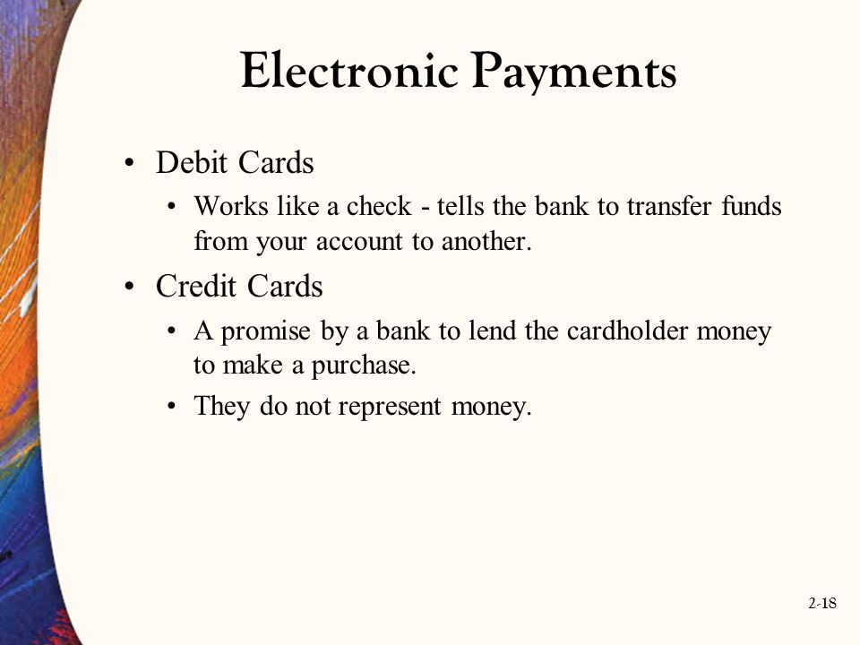 Electronic Payments Debit Cards Credit Cards
