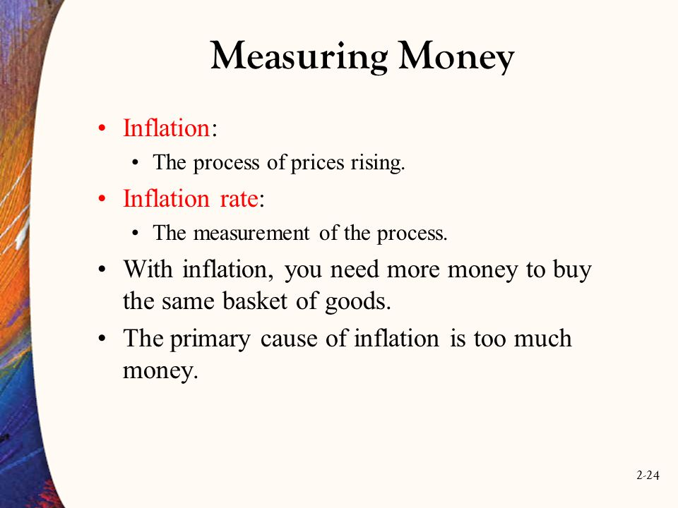 Measuring Money Inflation: Inflation rate: