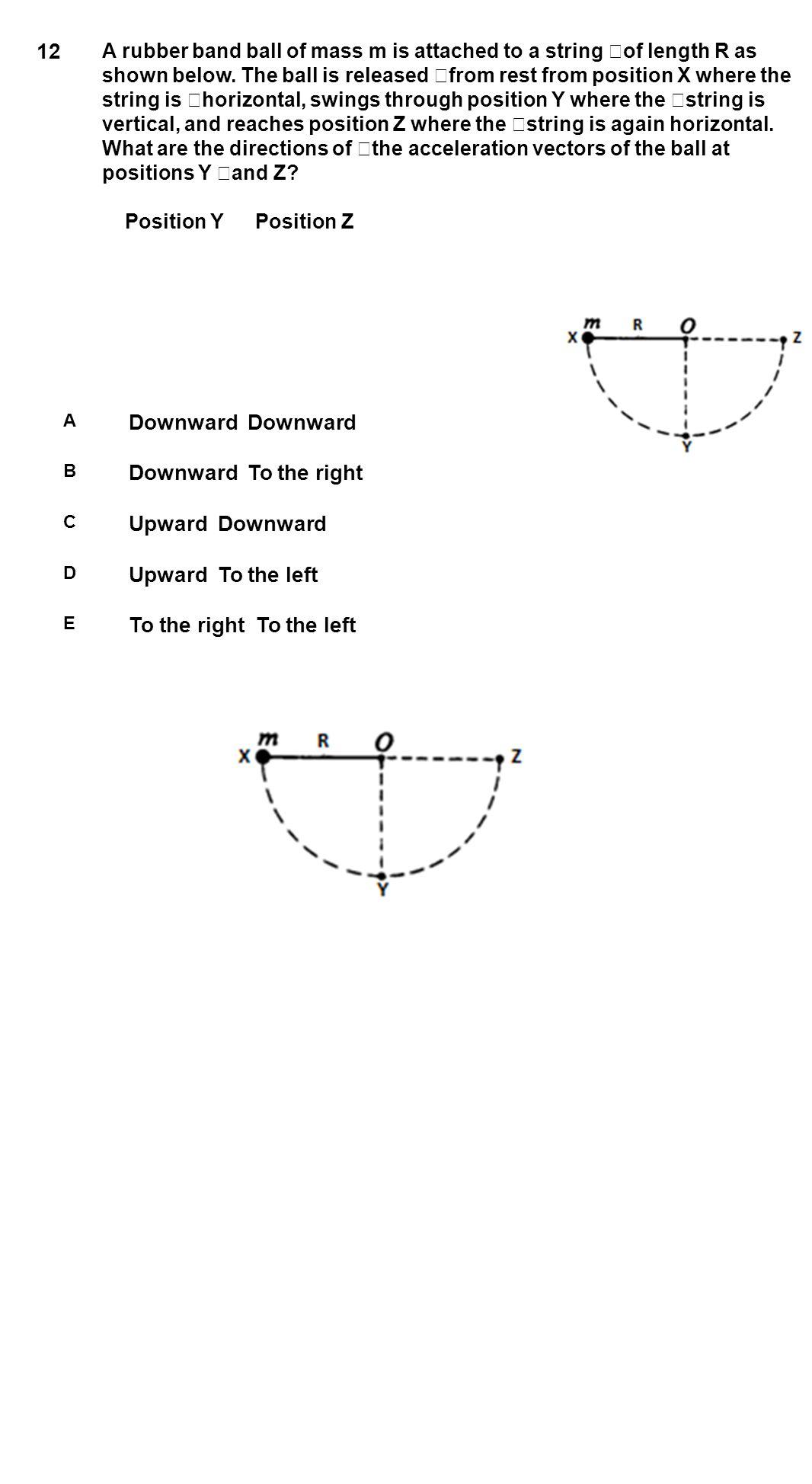 12 Downward Downward Downward To the right Upward Downward