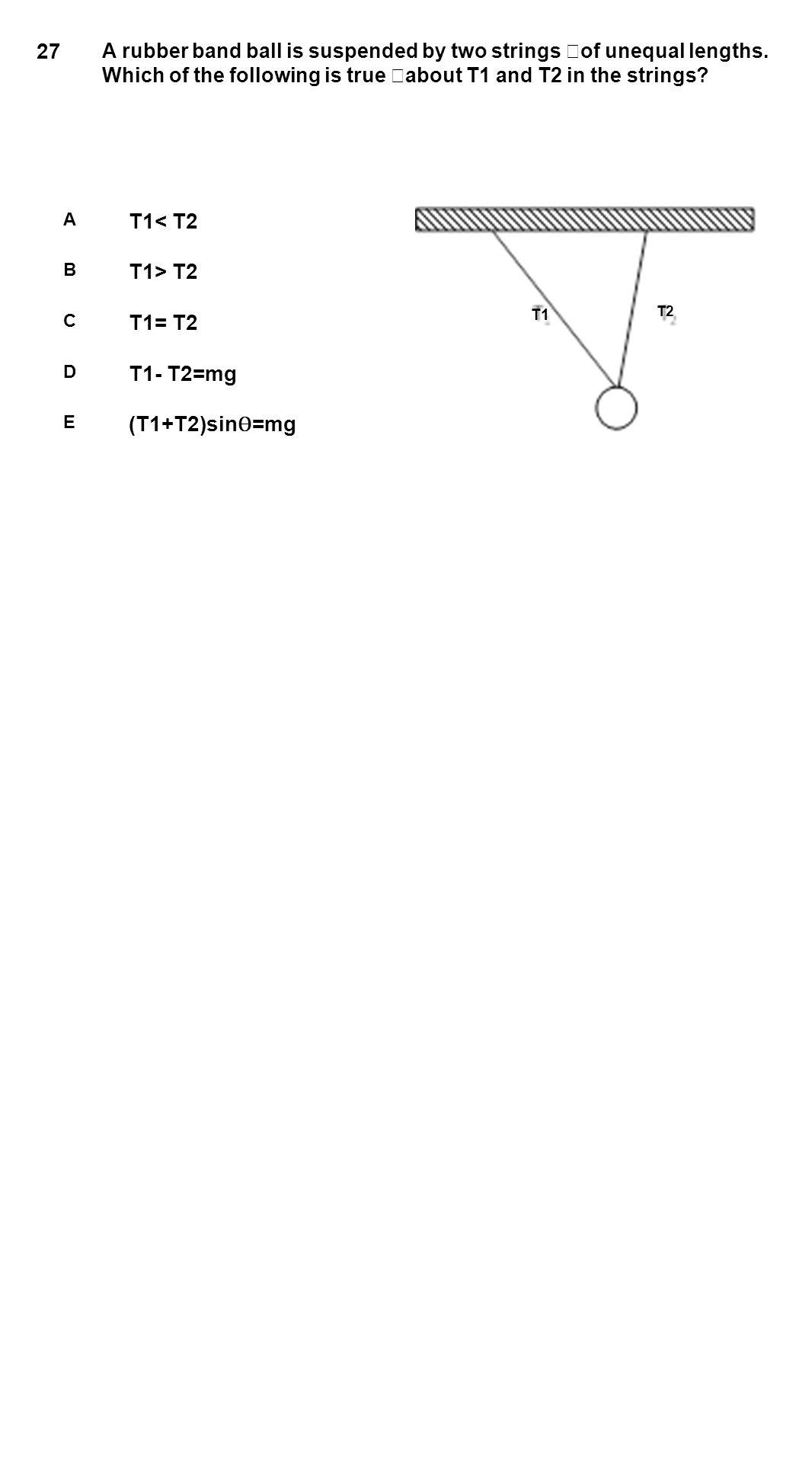27 T1< T2 T1> T2 T1= T2 T1- T2=mg (T1+T2)sinѲ=mg