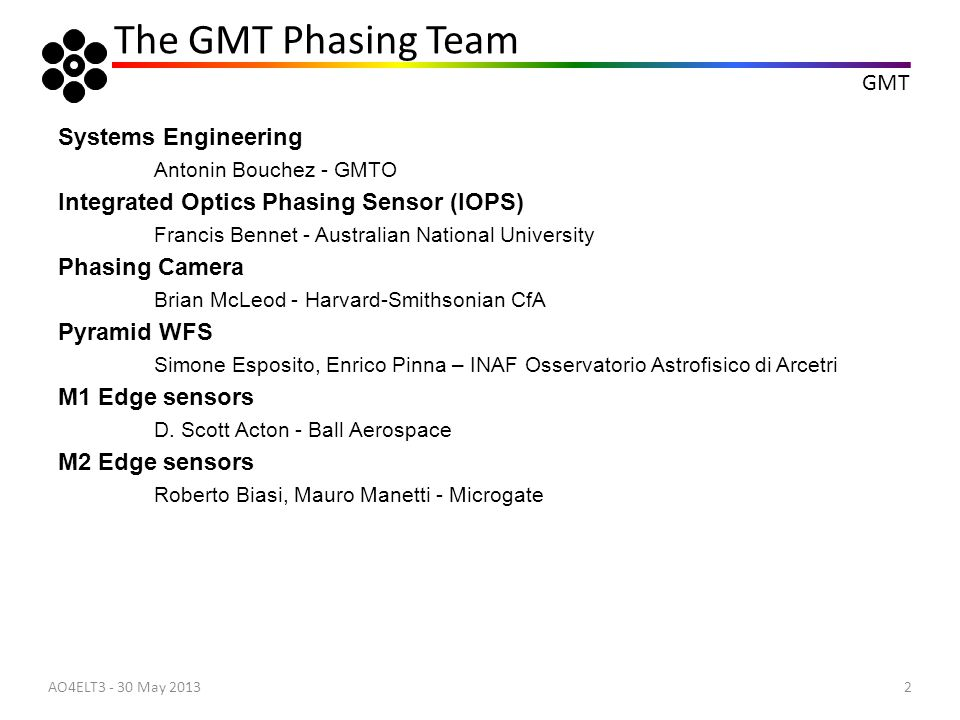 The GMT Phasing Team Systems Engineering