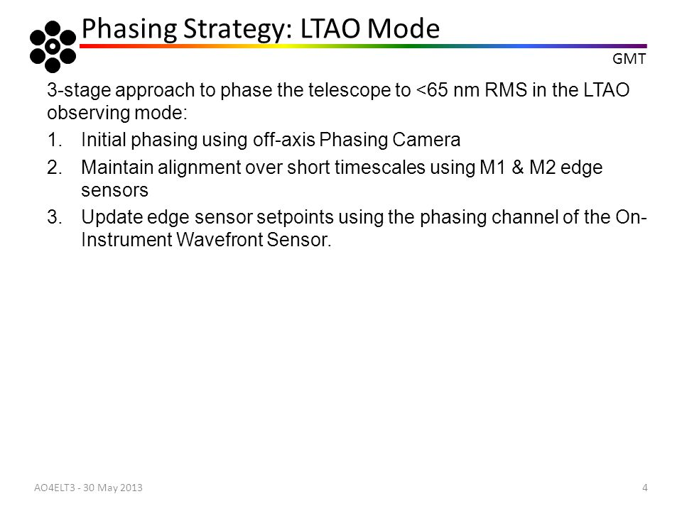 Phasing Strategy: LTAO Mode