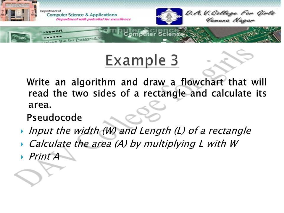 Example 3 Write an algorithm and draw a flowchart that will read the two sides of a rectangle and calculate its area.