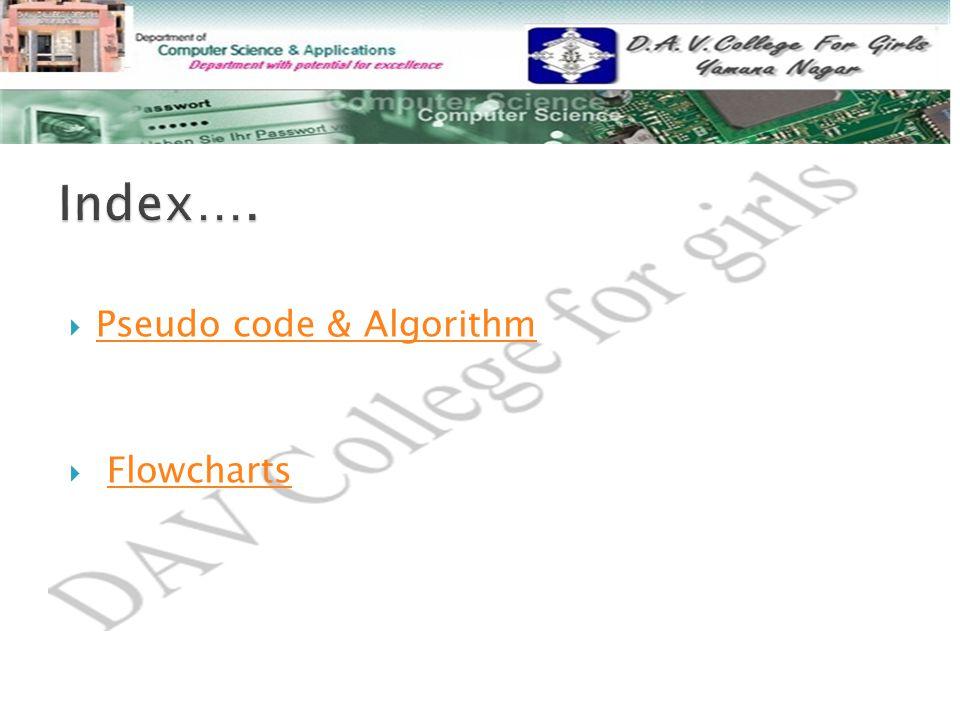 Index…. Pseudo code & Algorithm Flowcharts