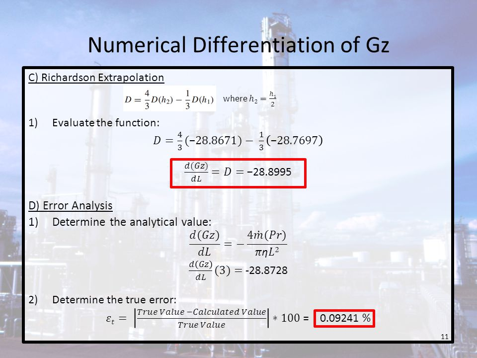Numerical Differentiation of Gz