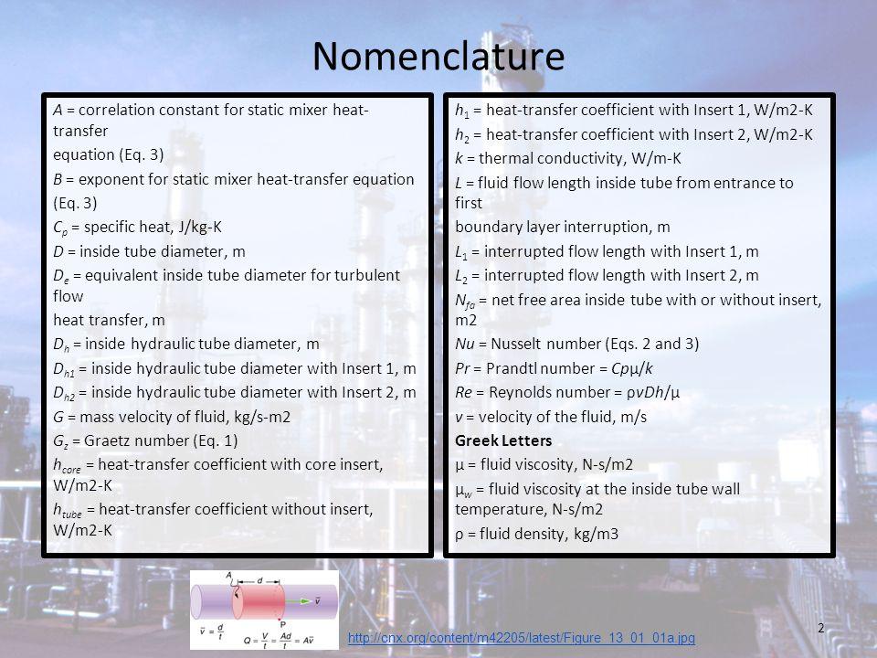 Nomenclature A = correlation constant for static mixer heat-transfer