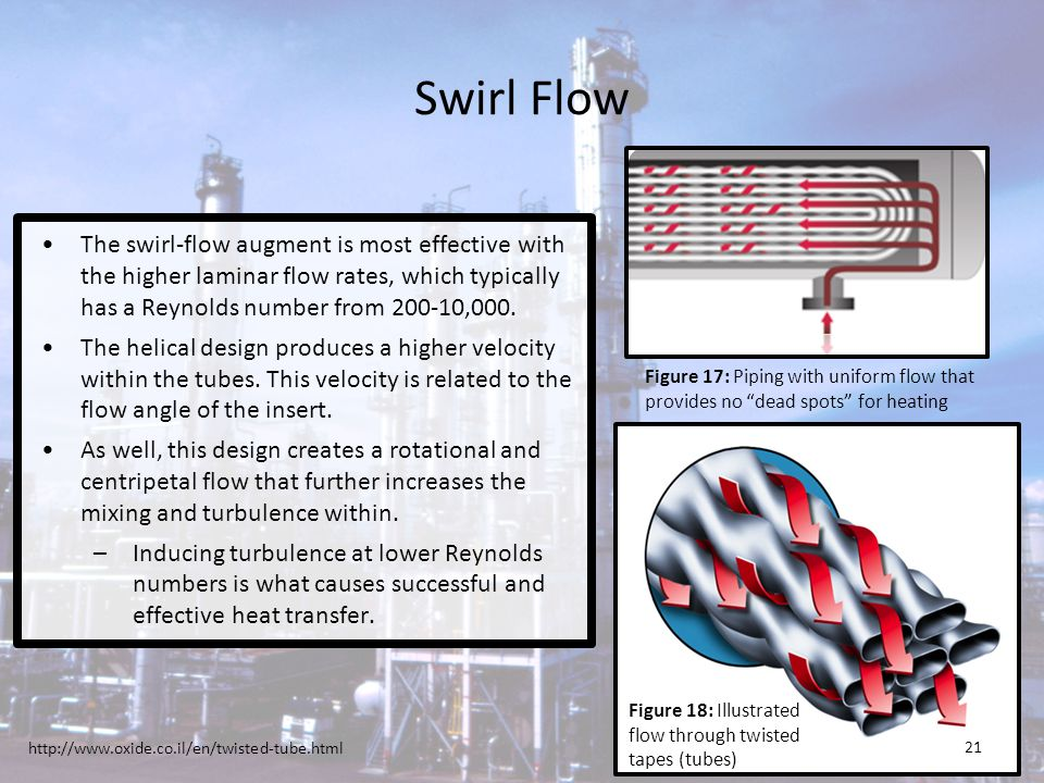 Swirl Flow The swirl-flow augment is most effective with the higher laminar flow rates, which typically has a Reynolds number from 200-10,000.