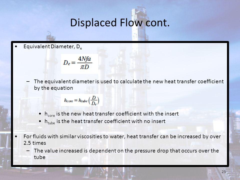 Displaced Flow cont. Equivalent Diameter, De