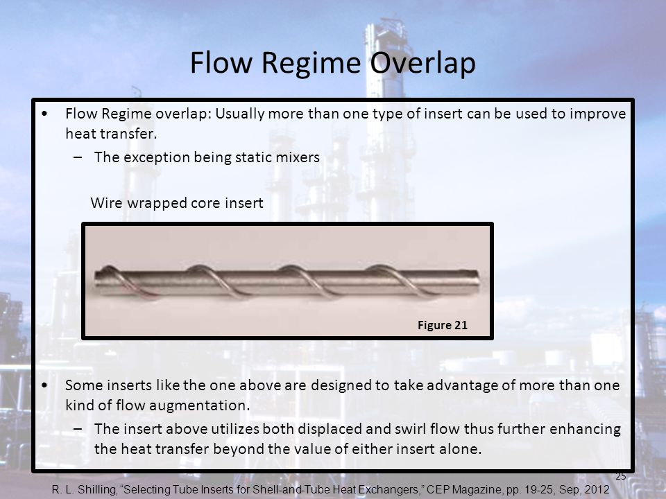 Flow Regime Overlap Flow Regime overlap: Usually more than one type of insert can be used to improve heat transfer.