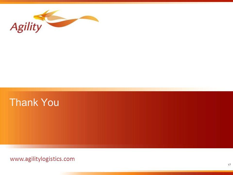 Thank You www.agilitylogistics.com 17