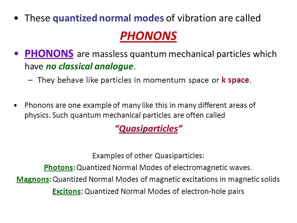 These quantized normal modes of vibration are called