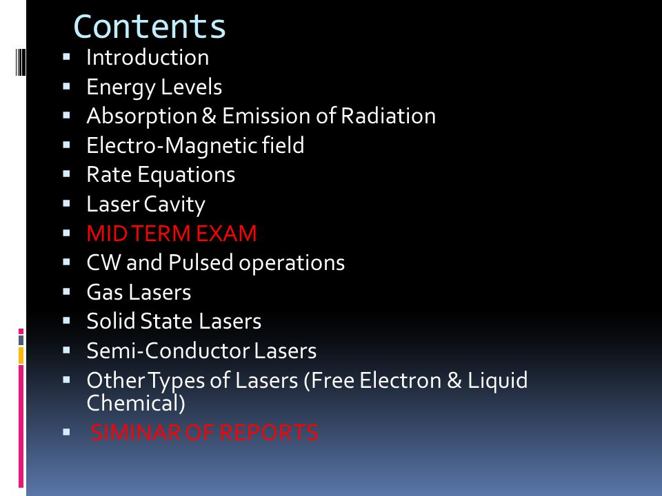 Contents Introduction Energy Levels Absorption & Emission of Radiation