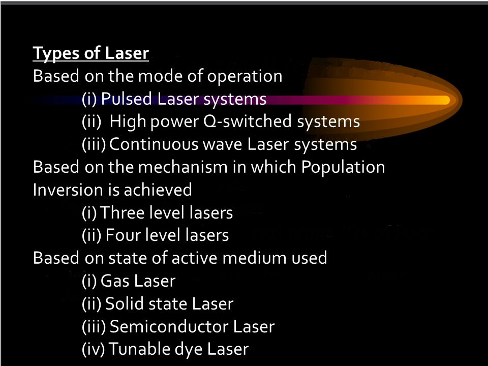 Types of Laser Based on the mode of operation. (i) Pulsed Laser systems. (ii) High power Q-switched systems.