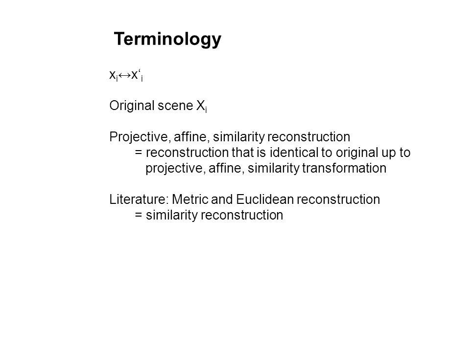 Terminology xi↔x'i Original scene Xi