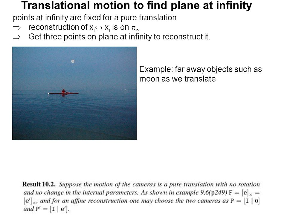 Translational motion to find plane at infinity