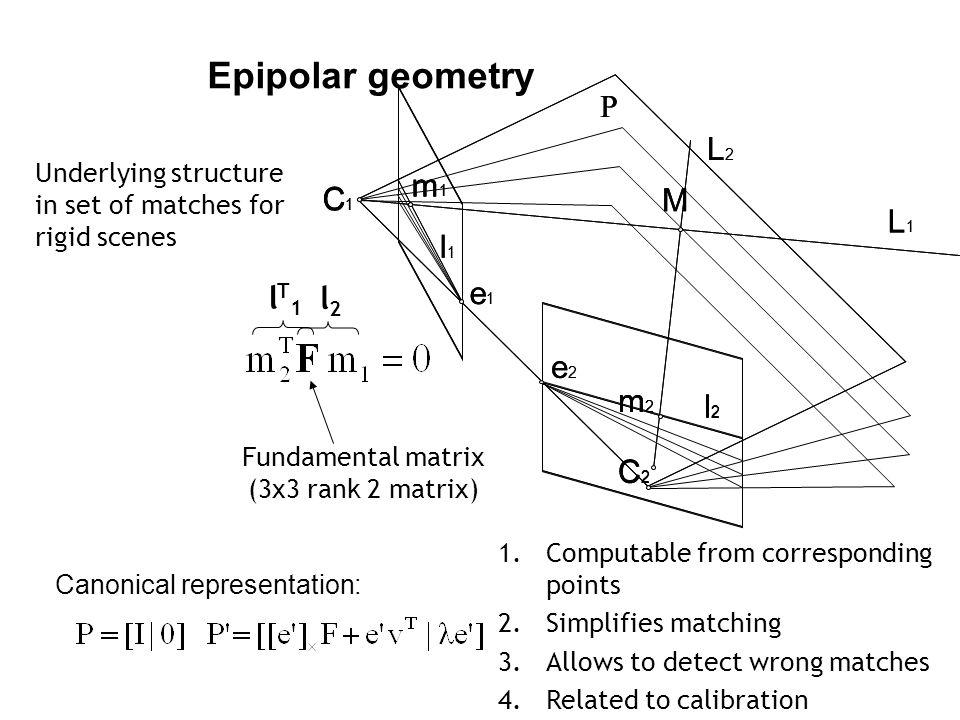 Fundamental matrix (3x3 rank 2 matrix)