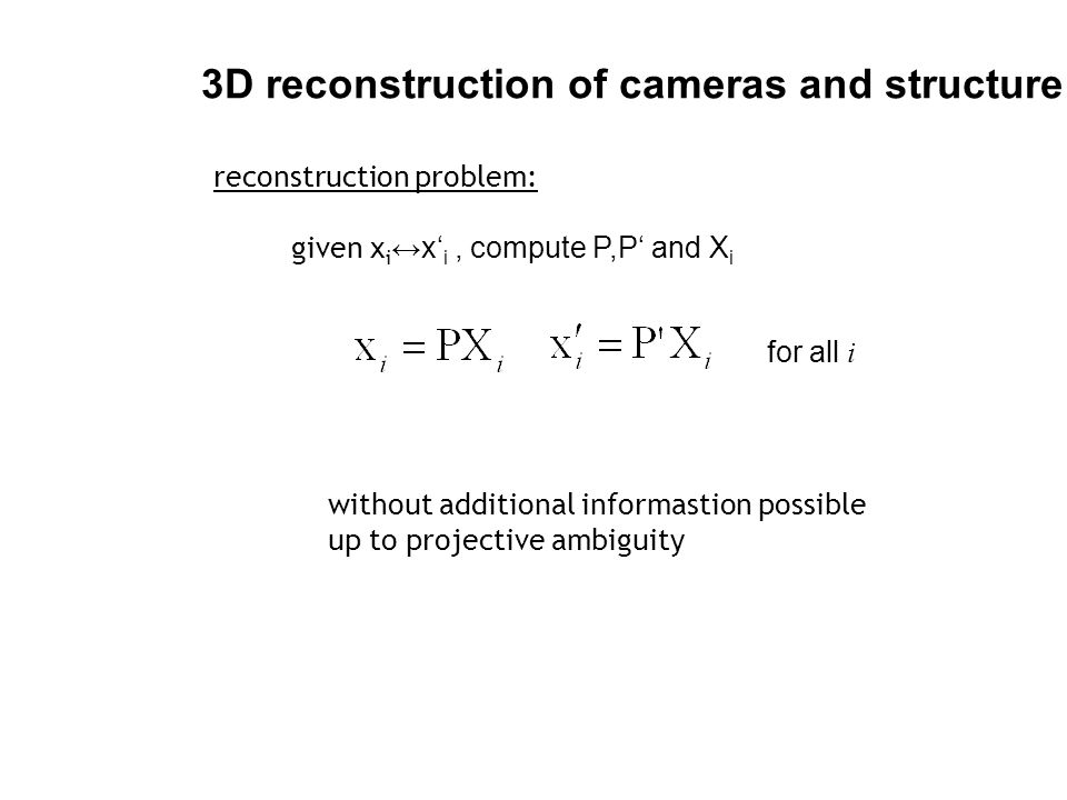 3D reconstruction of cameras and structure