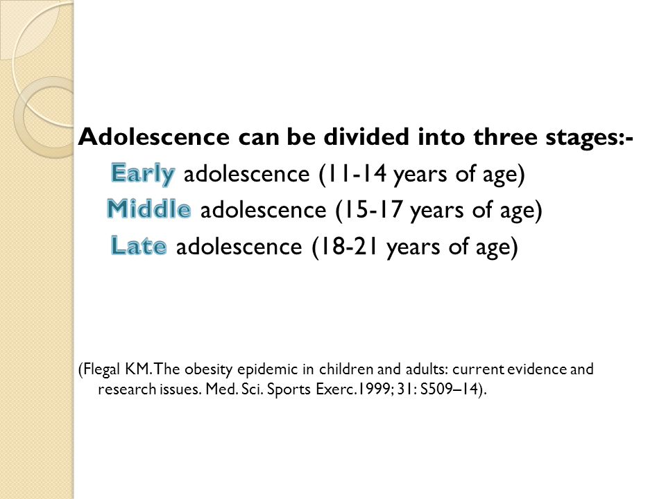 Adolescence can be divided into three stages:-