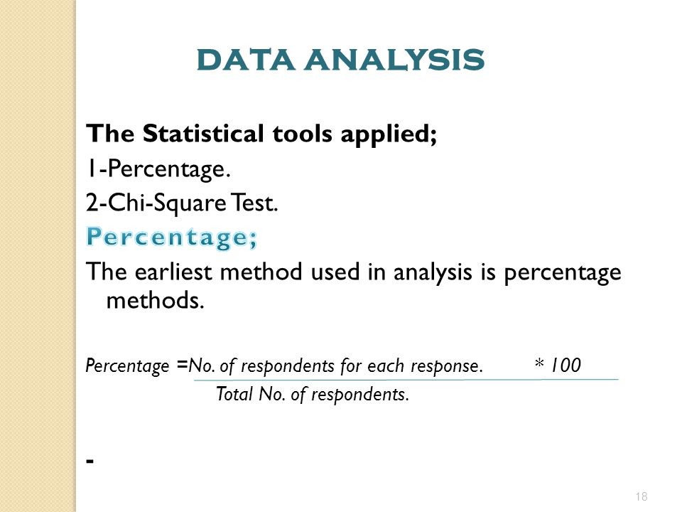 data analysis The Statistical tools applied; 1-Percentage.