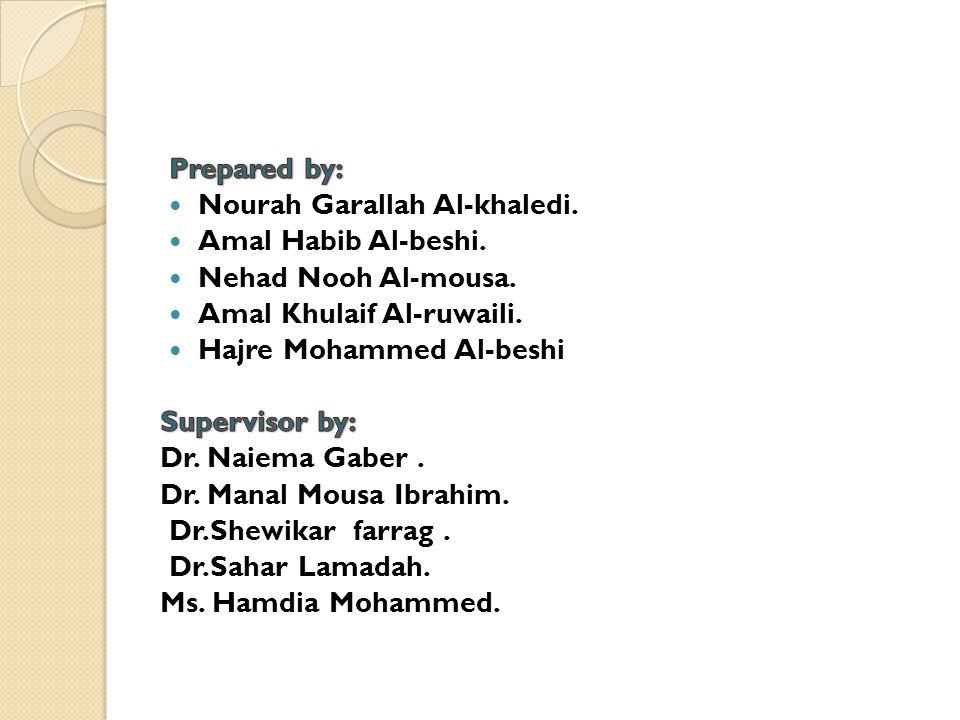 Prepared by: Nourah Garallah Al-khaledi. Amal Habib Al-beshi. Nehad Nooh Al-mousa. Amal Khulaif Al-ruwaili.