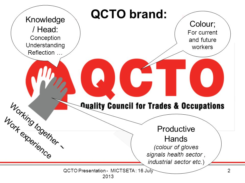 QCTO brand: Knowledge / Head: Colour; Working together ~