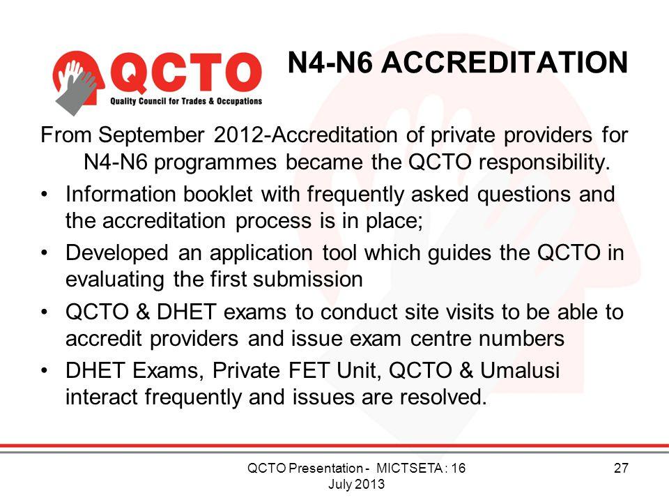 QCTO Presentation - MICTSETA : 16 July 2013