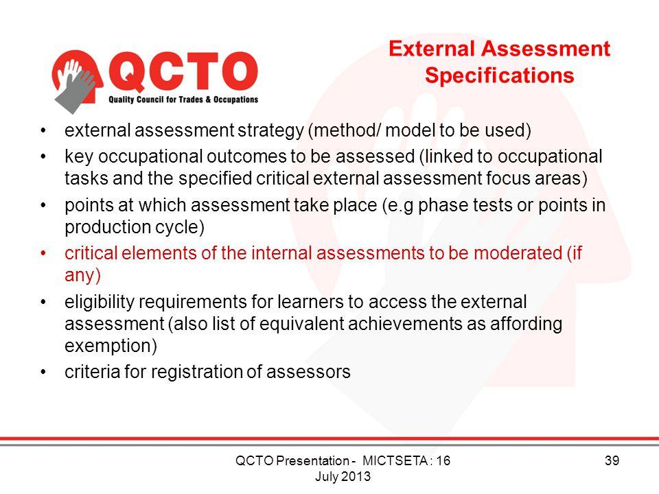 External Assessment Specifications