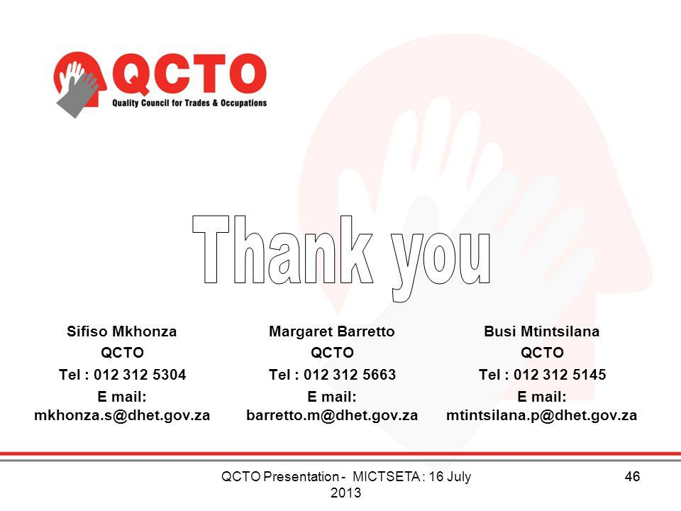 Sifiso Mkhonza QCTO Tel : 012 312 5304 E mail: mkhonza.s@dhet.gov.za