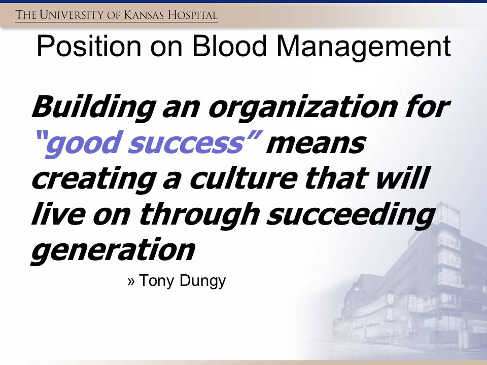 Position on Blood Management