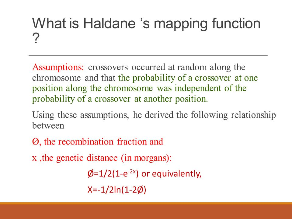 What is Haldane 's mapping function