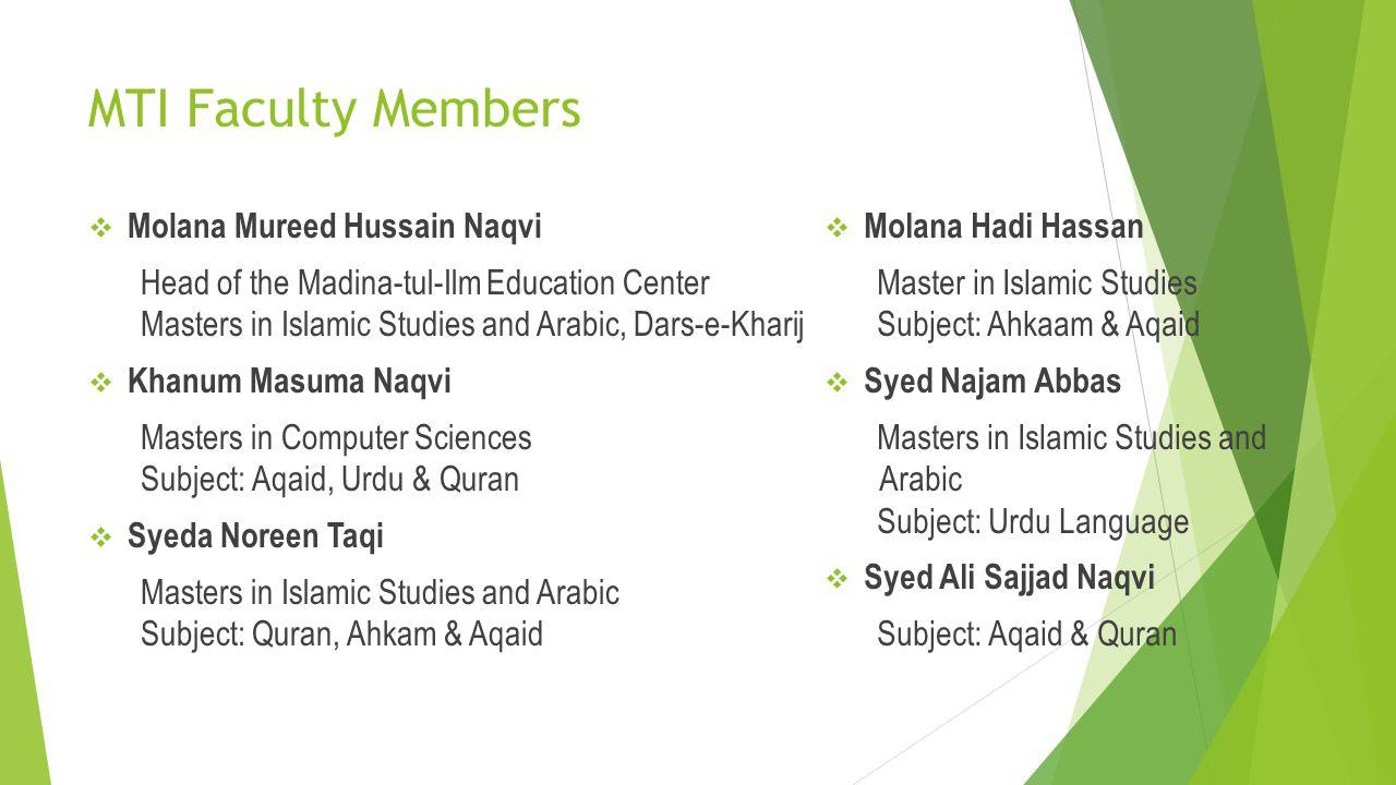 MTI Faculty Members Molana Mureed Hussain Naqvi