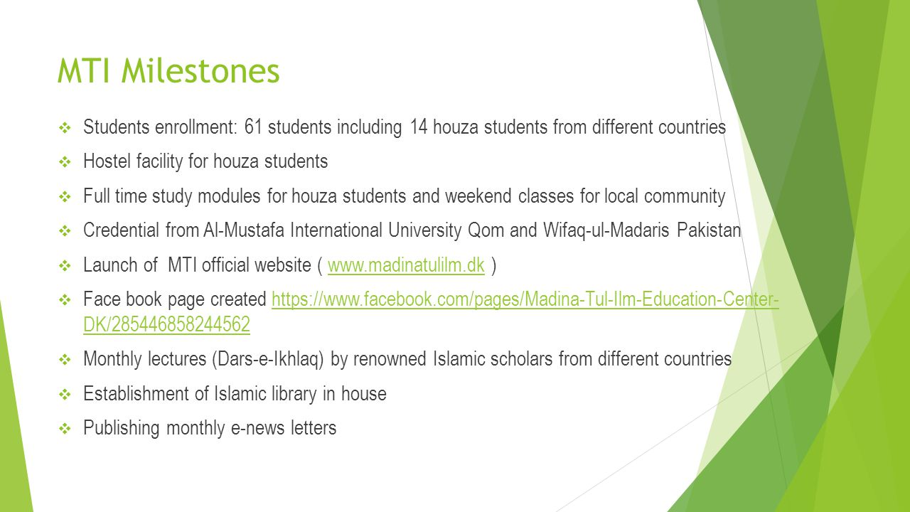MTI Milestones Students enrollment: 61 students including 14 houza students from different countries.
