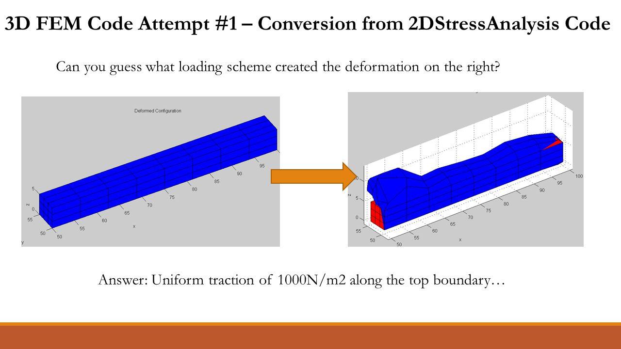 3D FEM Code Attempt #1 – Conversion from 2DStressAnalysis Code