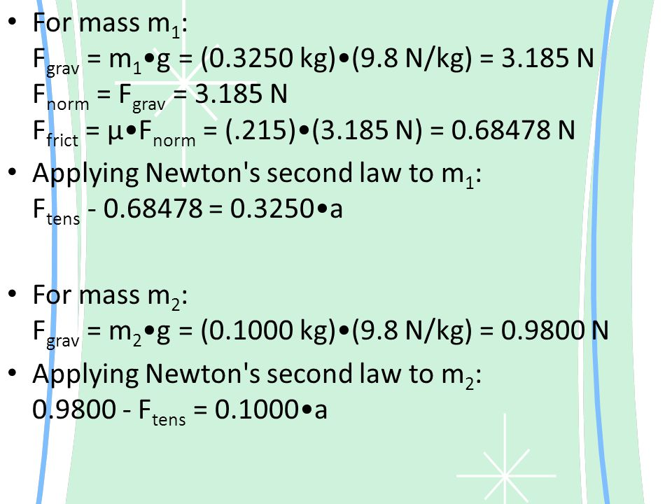 For mass m1: Fgrav = m1•g = (0. 3250 kg)•(9. 8 N/kg) = 3