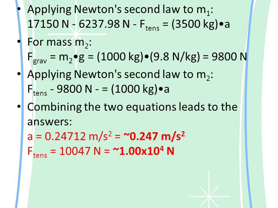 Applying Newton s second law to m1: 17150 N - 6237