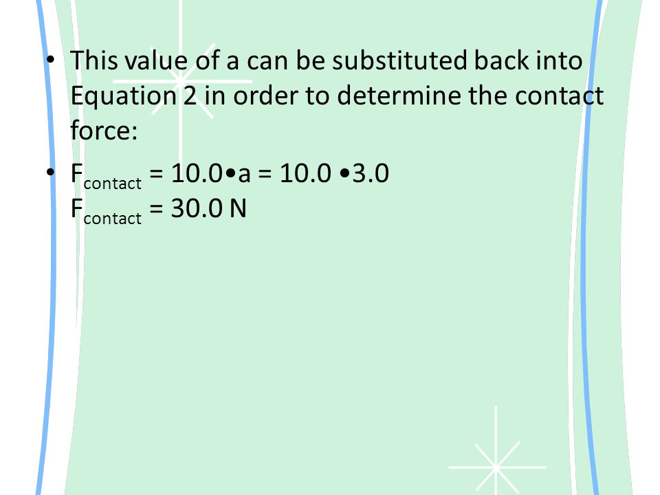 This value of a can be substituted back into Equation 2 in order to determine the contact force: