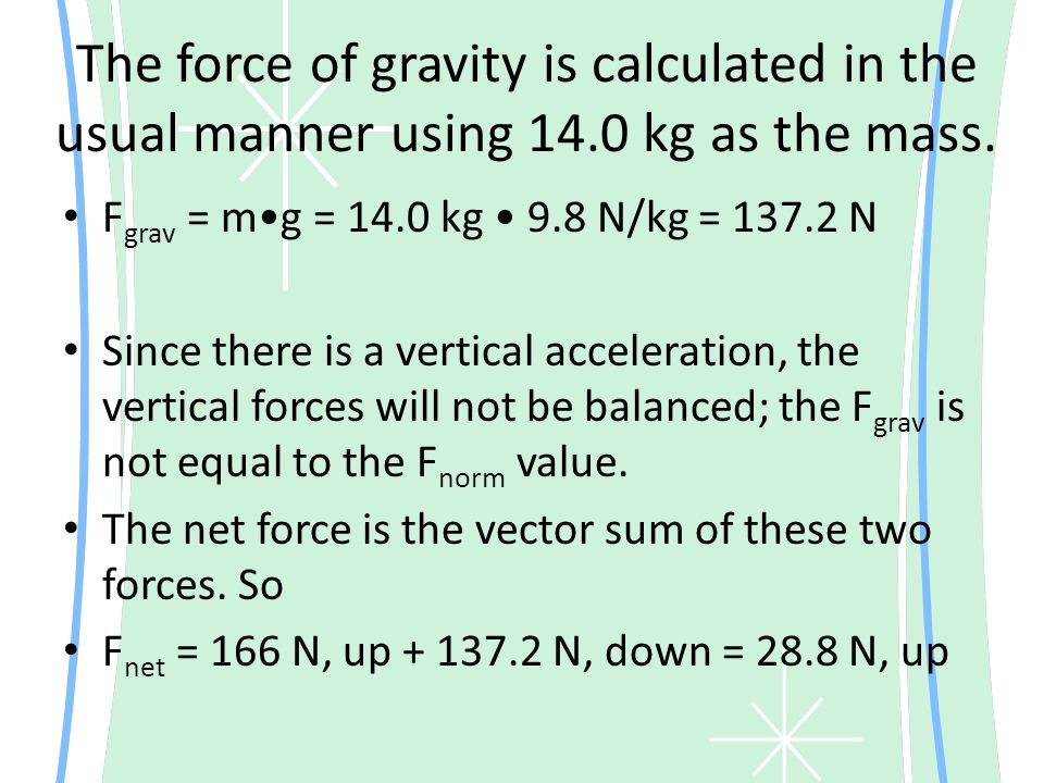 The force of gravity is calculated in the usual manner using 14